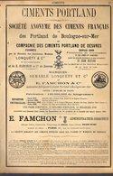 """PUB 1891 - Ciment Portland Boulogne Sur Mer 62; R. Boyer Rue Cannebière Marseille 13; Bibliotèque """"Le Costume"""" - Advertising"""