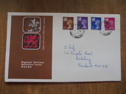 S003 : FDC: Regional Decimal Definitive Issue WALES. 7.5p, 5p, 3p, 2.5p. - FDC