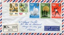 FIDJI LETTRE RECOMMANDEE PAR AVION DEPART SUVA 26 AU 69 POUR LA FRANCE - Fidji (1970-...)