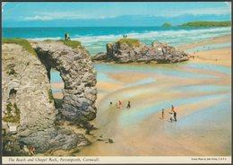 The Beach And Chapel Rock, Perranporth, Cornwall, 1977 - John Hinde Postcard - England