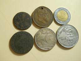 Lot 6 Coins 1 Silver 1 Holed - Monnaies & Billets