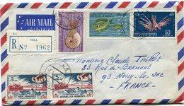 NOUVELLES HEBRIDES LETTRE RECOMMANDEE PAR AVION DEPART VILA 7-9-68 NEW HEBRIDES POUR LA FRANCE - Légende Française