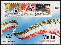 Malta Mini Sheet To Celebrate World Cup Football In Unmounted Mint From 1990. - Malta