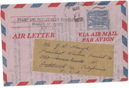 MB32   Philippines 1950 Air Letter To USA - Filippine
