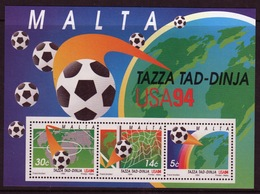 Malta Mini Sheet To Celebrate World Cup Football In Unmounted Mint From 1994. - Malta