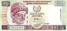 CYPRUS 5 LIRA -POUNDS PURPLE WOMAN HEAD FRONT BUILDING CASTLE DATED 01-02-19975 P33 VF+ READ DESCRIPTION !! - Chypre