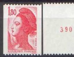 France Liberté De Gandon N° 2223 A ** Le 1,80 Fr Rouge De Roulette N° Rouge Au Verso - 1982-90 Liberté De Gandon