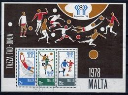 Malta Mini Sheet To Celebrate World Cup Football In Fine Used From 1978. - Malta