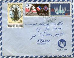 NOUVELLES HEBRIDES LETTRE PAR AVION DEPART PORT-VILA 27-11-69 NOUVELLES HEBRIDES POUR LA FRANCE - Légende Française