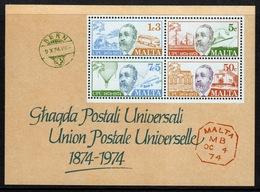 Malta Mini Sheet To Celebrate Centenary Of The U.P.U. In Unmounted Mint From 1974. - Malta