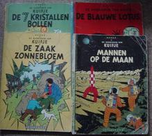 Hergé  KUIFJE 4 Delen : Mannen Op De Maan / De Blauwe Lotus / De 7 Kristallen Bollen / De Zaak Zonnebloem - Kuifje