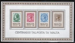 Malta Mini Sheet To Celebrate Centenary Of Malta Post Office In Unmounted Mint From 1985. - Malta