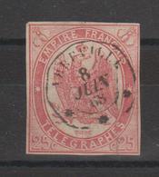 France Télégraphe 1 Oblitération Abbeville 1868 - Telegramas Y Teléfonos