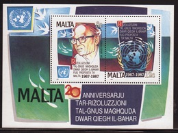 Malta Mini Sheet To Celebrate 20th Anniversary Of United Nations In Unmounted Mint From 1987. - Malta