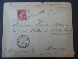 Lettre Chargee De 1898 Au Depart De Nice A Destination De Monaco - Postmark Collection (Covers)