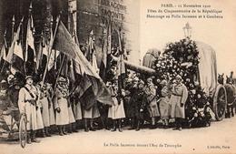 CPA Militaria Paris - 11 Novembre 1920 Fêtes Du Cinquantenaire De La République, Hommage Au Poilu Inconnu Et à Gambetta - Arc De Triomphe