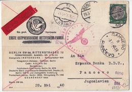 Erste Ostpreussusche Bettfedern-Fabrik Company Postcard Travelled 1940 To Pancevo Censored B180910 - Cartas