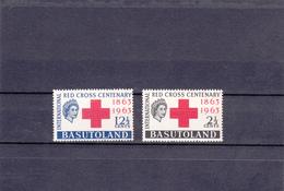 Basutoland  1963  N°  84/85    Centenaire De La Croix Rouge Internationale - Basutoland (1933-1966)