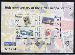 Malta Mini Sheet To Celebrate 50th Anniversary Of Europa Stamps In Unmounted Mint Condition From 2006. - Malta