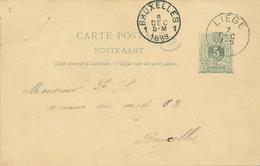 285/27 - Carte Postale Lion Couché LIEGE 1889 Vers BRUXELLES - Récépissé De Versement Collé Au Verso - Entiers Postaux