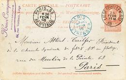 286/27 - Entier Postal Fine Barbe  LIEGE Guillemins 1895 Vers PARIS - Cachet Henri Crampon , Photographe - Entiers Postaux