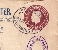 Lettre Recommandée Birmingham 1911 Alfred Field & Co Registered Letter Belgique Liège - Covers & Documents