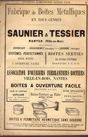 PUB 1891 - Conserves Saunier & Tessier; Dauché Rue Lavoisier à Nantes; Couleurs Pour Papier à Prix & Haudrecy 08 - Publicités