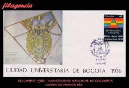 AMERICA. COLOMBIA SPD-FDC. 1986 ANIVERSARIOS DE LAS FACULTADES DE ARQUITECTURA & BELLAS ARTES DE LA UNIVERSIDAD NACIONAL - Colombia