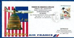 Enveloppe / 1er Vol Commercial Régulier Airbus A340 / Paris - Washington - Postmark Collection (Covers)