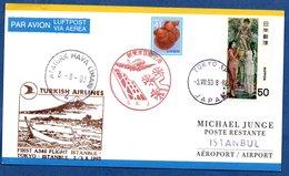 Carte / First A 340 Flight Istanbul - Tokyo - Istanbul / 3-8-93 - 1989-... Empereur Akihito (Ere Heisei)