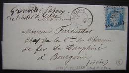 1858 Villeurbanne Pc 3638 Cachet Rouge Du Contentieux De La Compagnie De Chemins De Fer (Lyon à Grenoble) à L'intérieur - Postmark Collection (Covers)