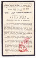 DP Jules L. VanOverberghe ° Merkem 1883 † Ieper 1931 X Maria Beun - Images Religieuses