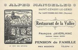 DPT 61 72 53 Saint Cenery Le Gérei Restaurant De La Vallée Note  Au Verso TBE - France