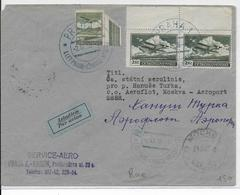TCHECOSLOVAQUIE - 1936 - POSTE AERIENNE - LETTRE Par AVION 1° VOL PRAGUE => MOSCOU (URSS) - Czechoslovakia