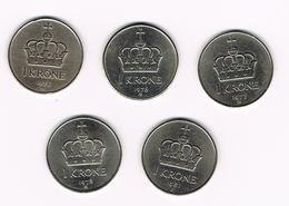 =&  NOORWEGEN  5 X 1 KRONE 1975/76/77/78/81 - Norvège
