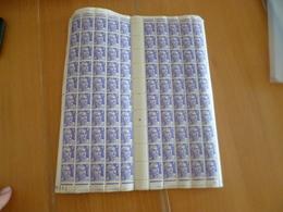Feuille Complète Gomme Imparfaite Millésime Coin Daté Pour étude Variétés TP Gandon 4 F Violet Clair  N°718 - Feuilles Complètes