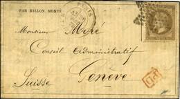 Etoile 22 / N° 30 Càd PARIS / R. TAITBOUT 26 DEC. 70 Sur Gazette N° 19 Pour Genève Sans Càd D'arrivée. LE TOURVILLE Prob - Postmark Collection (Covers)