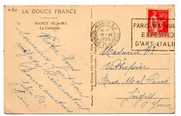 MEURTHE & MOSELLE - Dépt N° 54 = NANCY RP 1935 = FLAMME FLIER  'PARIS. MAI-JUILLET EXPOSITION D'ART ITALIEN ' - Marcophilie (Lettres)