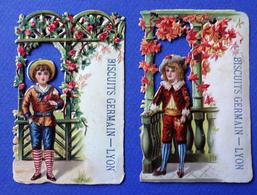 2 CHROMOS  DECOUPES  H :9 Cm  LYON    BISCUITS GERMAIN GARCONS BALUSTRADE DE FLEURS - Snoepgoed & Koekjes