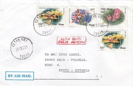 GOOD VIETNAM Postal Cover To ESTONIA 2001 - Good Stamped: Flowers / Orchids - Vietnam