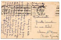 MEURTHE & MOSELLE - Dépt N° 54 = NANCY RP 1945 = FLAMME RBV 'CAMPAGNE NATIONALE DU RETOUR / ACHETEZ LES BONS ' Sur CP - Postmark Collection (Covers)