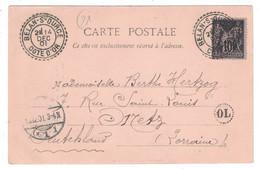 1901 - CACHET CAD FACTEUR-BOITIER De BELAN SUR OURCE COTE D'OR (FRAPPE LUXE) Sur CP SAGE 10c + OL ORIGINE LOCALE - Postmark Collection (Covers)