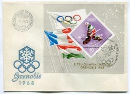 RC 9857 HONGRIE JEUX OLYMPIQUES DE GRENOBLE 1968 BLOC NON DENTELÉ 1er JOUR FDC TB - Hockey (Ijs)