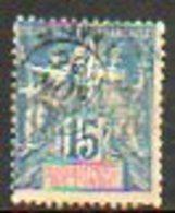 ETABLISSEMENT FRANCAIS DANS L'INDE - 1892 - N° 6 - 15 C. Bleu - India (1892-1954)