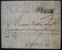 1760 Marque DE LYON Sur Lettre Pour Veynes Lenain N°16 - Poststempel (Briefe)