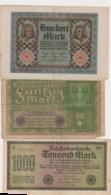 Billets De Banque Allemagne  Réunion De 3 Pièces - [ 3] 1918-1933 : République De Weimar