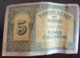 Maroc - Billet De 5 Francs Daté Du 1-8-43 - Etat D'usage - Maroc