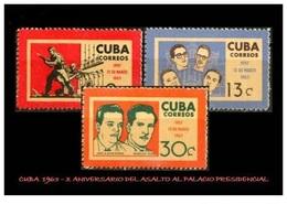CUBA/KUBA 1963 VI° ANIVERSARIO DEL ATAQUE AL PALACIO PRESIDENCIAL MNH - Cuba