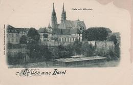 Litho AK Gruß Basel Bale Stadt Pfalz Mit Münster Kirche Restaurant Badeanstalt ? A Fähribödeli Schweiz Suisse Helvetia - BS Bâle-Ville