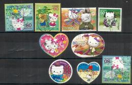 Hello Kitty !   9 Beaux Timbres Oblitérés Du JAPON - Domestic Cats